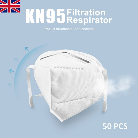 50PCS KN95 Mask | N95 Disposable Face Mask | Unvalved Face Respirator