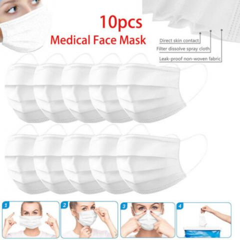 10PCS Disposable Face Mask Medical Mask Surgical Flu Mask  3-Ply Earloop
