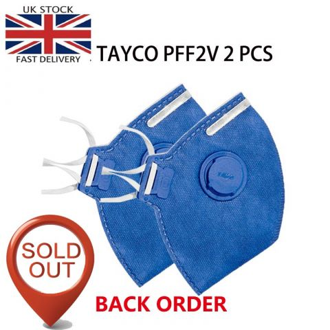 TAYCO FFP2-V Disposable Masks | N95 Fold Flat Respirator  Disposable Masks |2PCS