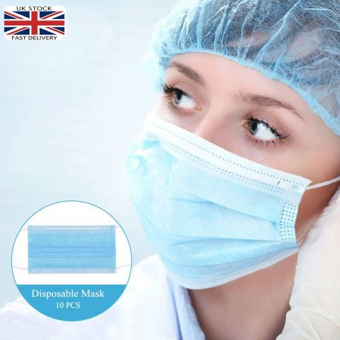 10PCS DISPOSABLE 3 PLY SURGICAL FACE MASK | FOR VIRUS PROTECTION ELASTIC EAR LOOP |White