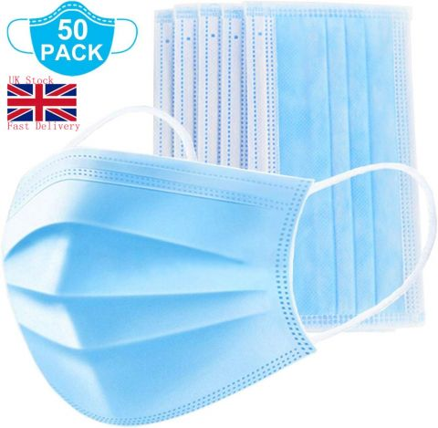 50PCS Disposable Face Mask | 3-Ply Ear Loop Cover